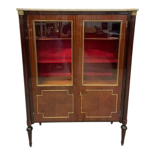 1910s French Louis XVI Exotic Mahogany Vitrine Marble Top. For Sale