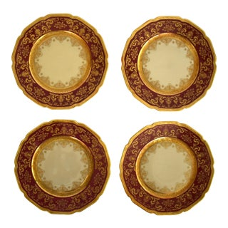 Heinrich and Co. Selb H & C Bavaria German Porcelain Red and Gold Encrusted Bread & Butter Plates - Set of 4 For Sale