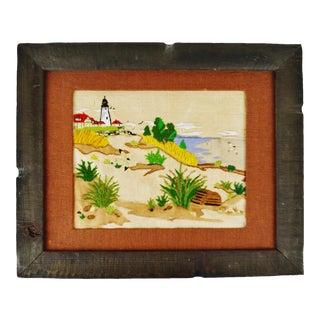 Vintage Rustic Framed Embroidery of Nautical Lighthouse Coastal Seascape Scene For Sale