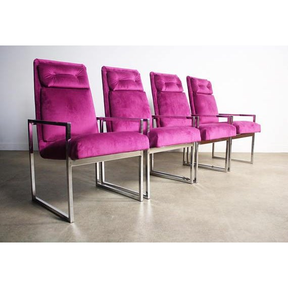 About this Set of Four Milo Baughman Chrome Dining Chairs Yeah, the print is bold! And look at these RARE lines. Powerful...