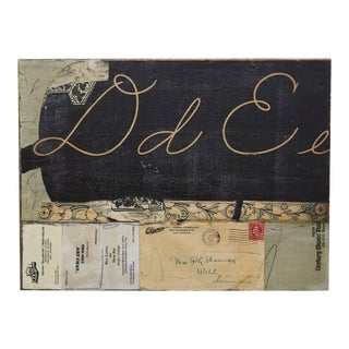 Late 20th Century Mixed Media. Collage On Wood Board By Riva Leviten D-E For Sale
