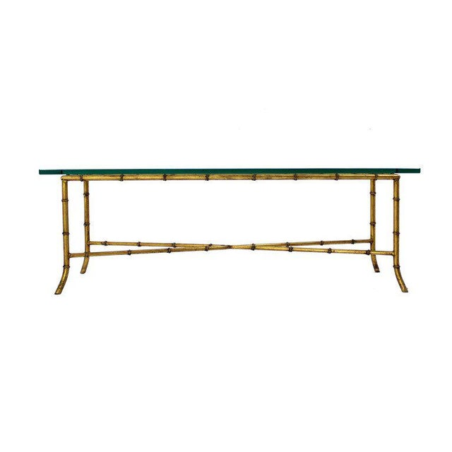 X Base Rectangular Mid Century Modern Gilt Faux Bamboo Glass Top Coffee Table For Sale In New York - Image 6 of 9
