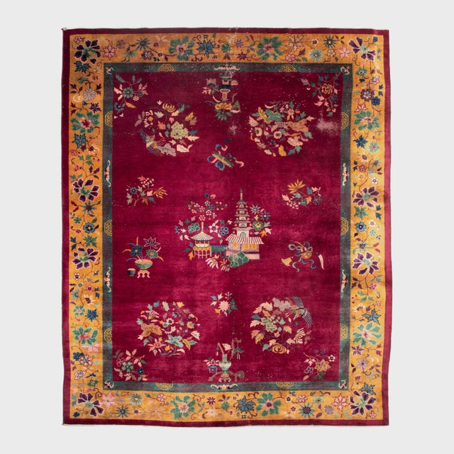 Magenta Chinese Deco Carpet For Sale - Image 11 of 11