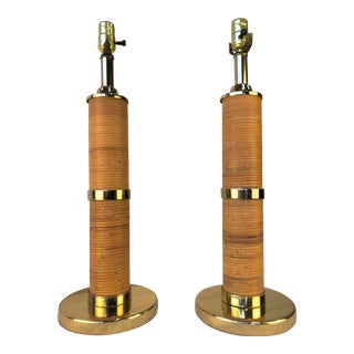 Hollywood Regency Gold & Rattan Table Lamps - a Pair For Sale