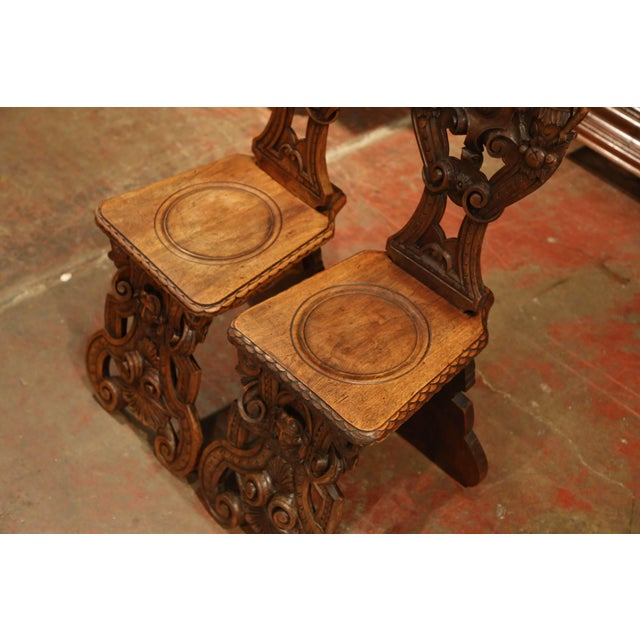 Pair of 19th Century Italian Renaissance Carved Walnut Sgabello Hall Chairs For Sale - Image 9 of 13