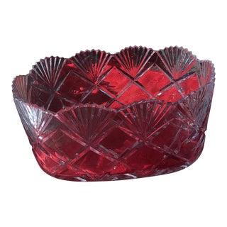 Oversized Crystal Fruit Bowl For Sale
