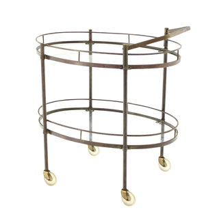 Oval Two Tier Brass Tea Cart or Serving Table For Sale