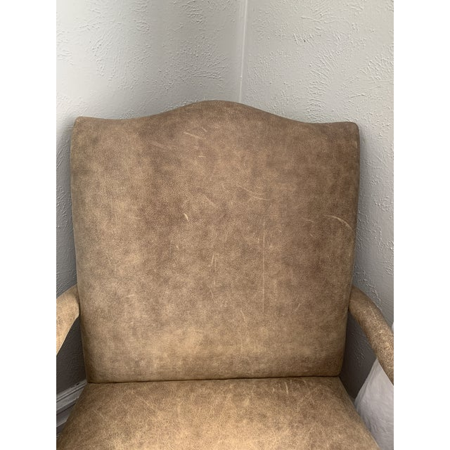 Vintage Chinese Chippendale Style Gray Tan Brushed Leather Arm Chairs- a Pair For Sale - Image 4 of 12