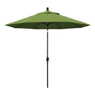 Casa Cosima 9' Riviera Patio Umbrella With Bronze Aluminum Pole in Sunbrella Spectrum Cilantro Fabric For Sale