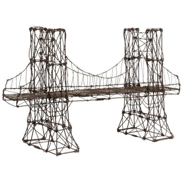 Mid Century Modern Vintage Brutalist Wire Bridge Table Sclupture For Sale
