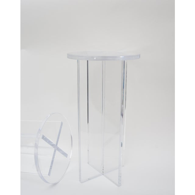 Contemporary Custom Bespoke Lucite Side Tables - a Pair For Sale - Image 3 of 8