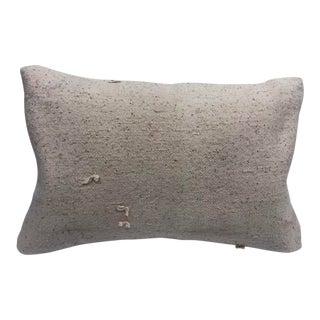 Nomadic Handmade Turkish Vintage Natural Boho Lumbar Kilim Pillow For Sale