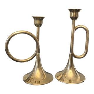 Trumpet Musical Instrument Brass Candlesticks - a Pair For Sale