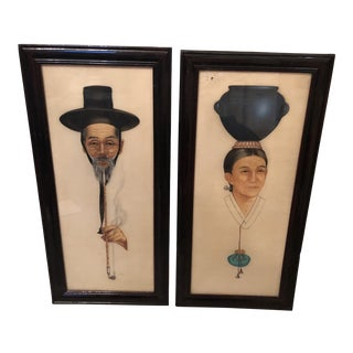 Early 20th Century Asian Silk Portrait Paintings of Man and Woman, Framed - a Pair For Sale