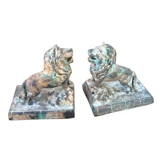 Mottled Cast Iron Vintage Lion Bookends - A Pair