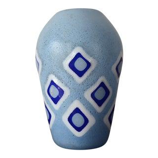 Signed Formentello Murano Eli Vetri Diamonds Blue Glass Vase For Sale