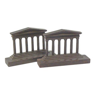 Antique Cast Iron Parthenon Book Ends - A Pair For Sale