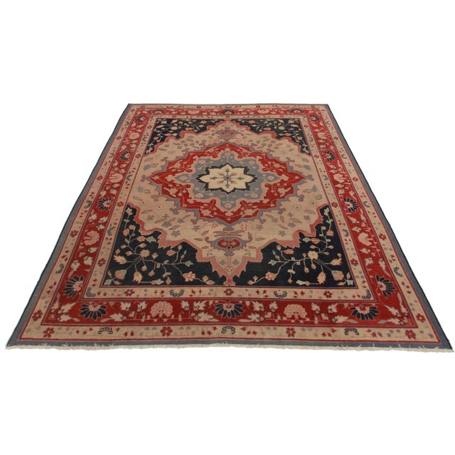 Antique Hand Knotted Wool Turkish Rug. Medallion design.