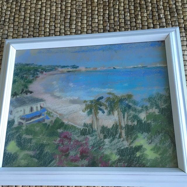 Original Oil Pastel Caribbean Coastline Seascape Framed Art - Image 8 of 10