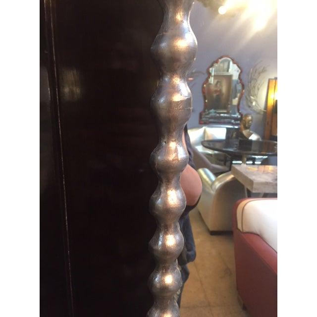 1960s Vintage Black & Silver Leaf Mirror For Sale - Image 4 of 8