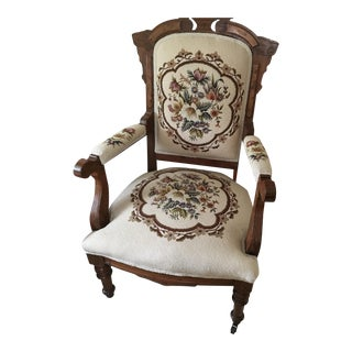 Victorian Eastlake Arm Chair With Ivory Floral Needlepont