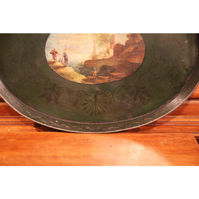 Metal 19th Century French Napoleon III Hand-Painted Tole Tray With Coastline and Cliff For Sale - Image 7 of 9