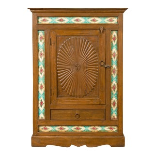 Indian Small Cabinet with Sunburst Design and Hand Painted Tiles with Rose Motif For Sale