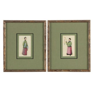 Early 20th Century Antique Bamboo Framed Chinese Gouache Portrait Paintings - A Pair For Sale