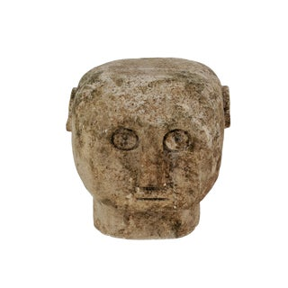 Vintage Indonesian Stone Carved Head For Sale