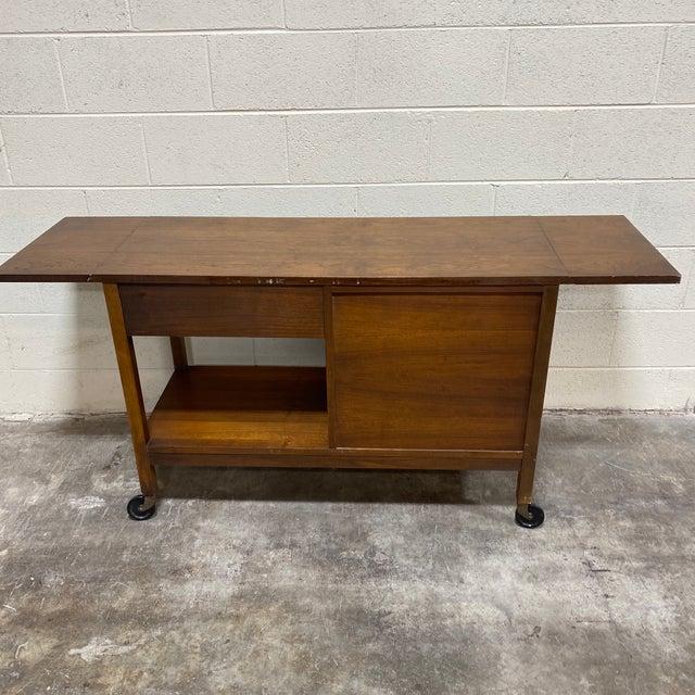 Brown Mid Century Drop Leaf Walnut Bar Cart For Sale - Image 8 of 13