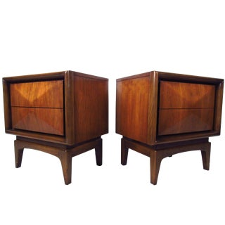 Pair of Mid-Century Diamond Front Nightstands After Vladimir Kagan For Sale