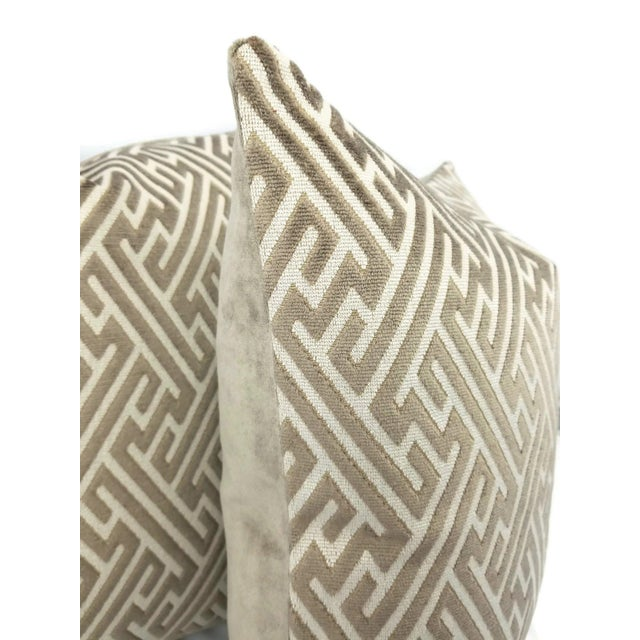 From Holly Hunt is Labyrinth in the color Field Stone. A fretwork infused velvet with grays and cream. This pillow is...