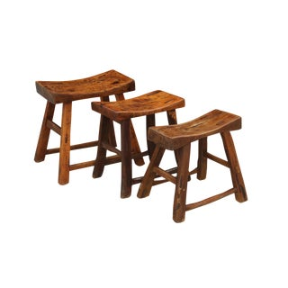 Antique Elm Wood Asian Stools - Set of 3 For Sale