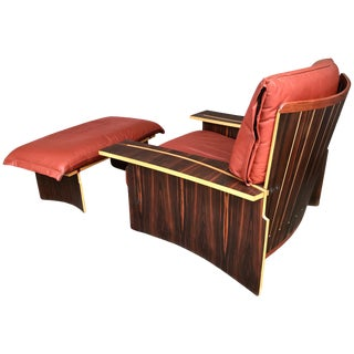 Lounge Chair Wood Leather by Poli and Fiori for Bernini, Italy, 1979 For Sale