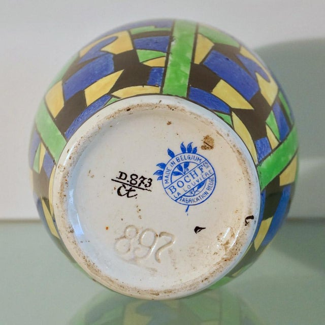 1920s Green Blue & Yellow Abstract Geometric Charles Catteau Vase For Sale In Los Angeles - Image 6 of 7