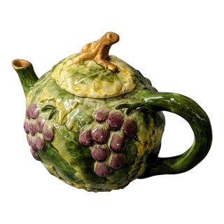 Vintage Italian Grape Leaf Motif Tea Pot For Sale