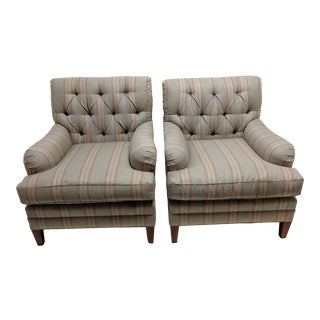 Tufted Library Armchairs- A Pair For Sale
