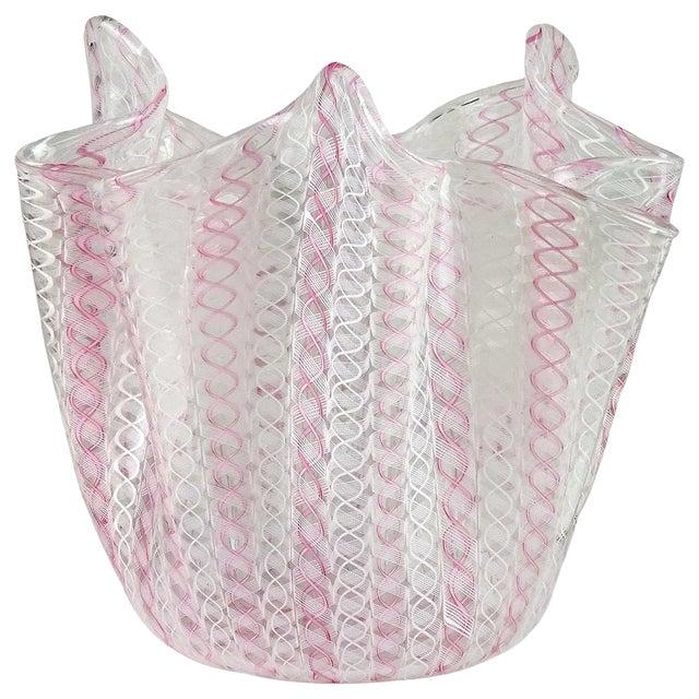 Bianconi Venini Murano Signed Zanfirico Ribbons Italian Art Glass Mid Century Flower Vase For Sale