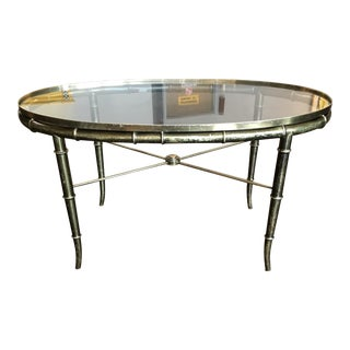 Mid-Century Modern Mastercraft Faux Bamboo Brass & Glass Coffee Table For Sale