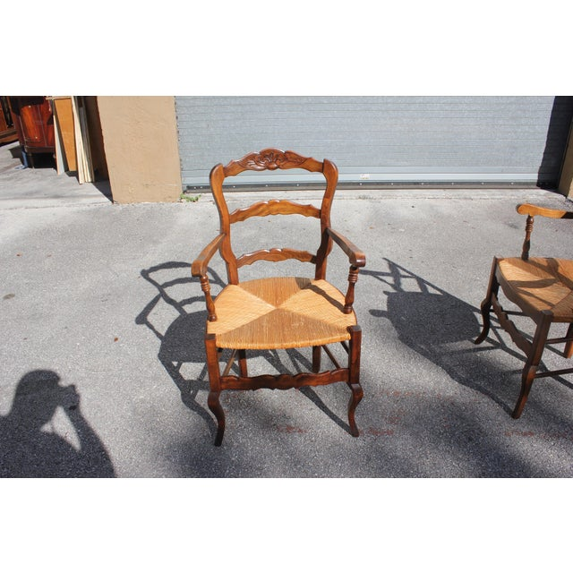 Early 20th Century French Country Rush Seat Solid Walnut Berger Chairs- a Pair For Sale - Image 11 of 13