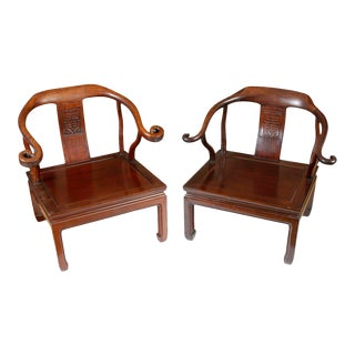 Almost Pair of Rosewood Horseshoe Chairs For Sale