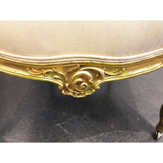 Mid 19th Century Pair of 19th Century Louis XV Giltwood Bergères For Sale - Image 5 of 8