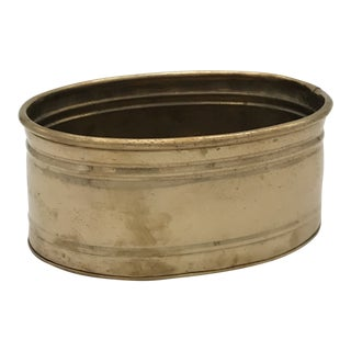 Vintage Brass Oval Planter For Sale