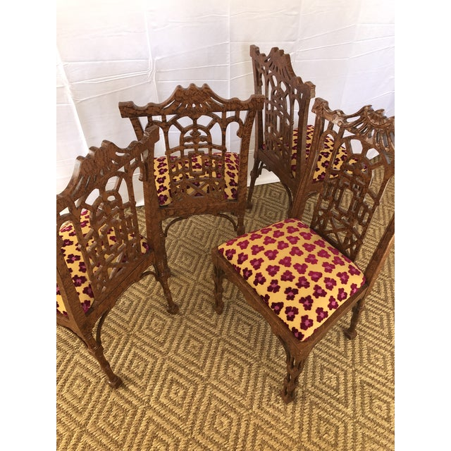 Vintage Pagoda Wooden Carved Dining Chairs - Set of 4 For Sale - Image 10 of 13
