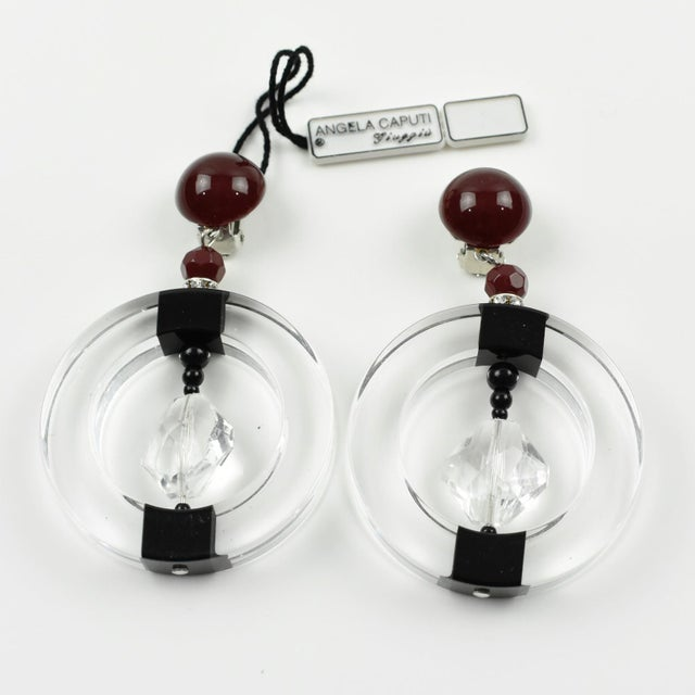 Italian Angela Caputi Hoop Dangling Black and Clear Resin Clip on Earrings For Sale - Image 3 of 6