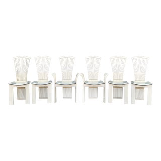 Pietro Constantini Ivory Lacquered and Leather Dining Chairs -Set of 6 For Sale