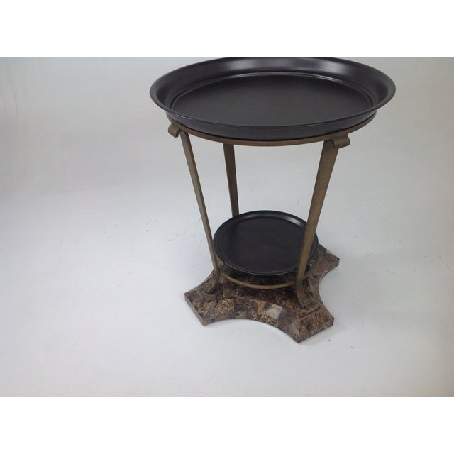 Traditional Claw Foot Travertine & Iron Foyer Table For Sale - Image 3 of 7