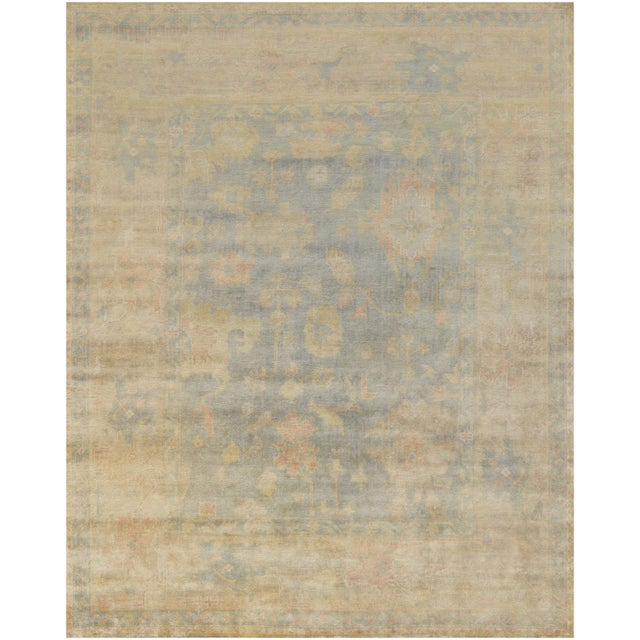 Brand new Oushak from Kashmir. This decorative rug features grayish blue background and a an amazing design. Made of 100%...