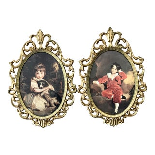 Late 20th Century Italian Metal Oval Picture Frames - a Pair For Sale