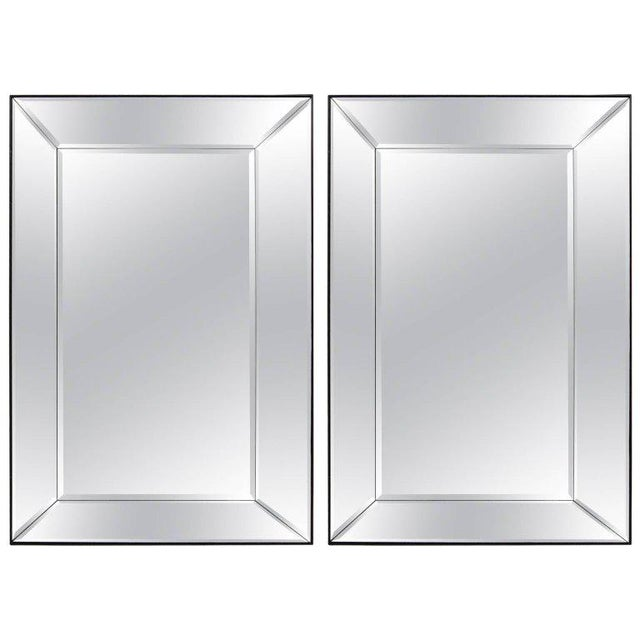 Black Pair of 5 Panel Beveled Mirrors For Sale - Image 8 of 8